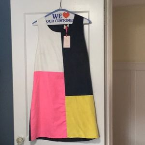 Multi-colored block print suede dress